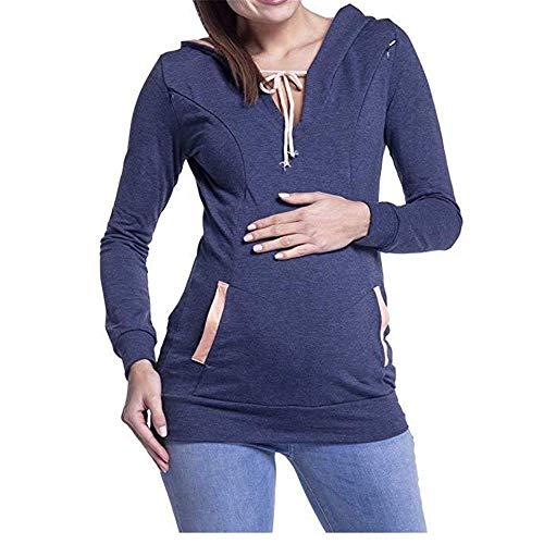 ZHOUJINGTIAN Herbst und Winter Multifunktions Mutter Stillen Pullover weibliche Modelle Nähen mit Kapuze langärmelige Kleidung Dunkelblau M -