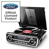 ION Audio Mustang LP -USB Plattenspieler mit Lautsprecher / Schallplattenspieler Retro mit Radio, Aux-Eingang und Vinyl zu MP3 Kovertierungssoftware,  schwarzer Lack - ein Muss für Ford Mustang Fans