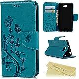 Coque Huawei Y5 II / Y5 2 Mavis's Diary Coque de Protection Housse Étui à Rabat Phone Case Flip Cover Support Portefeuille Papillon Imprimé avec Fente de Carte Papillon Fleur + Chiffon - Bleu