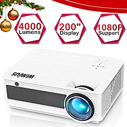 """Proyectores, WiMiUS P18 4000 Lúmenes 5.8"""" LCD Proyector de Video con 200"""" Pantalla, Soporta Full HD 1080P, Contraste 4000:1, 50000 Horas, con el Interfaz HDMI/ USB/ VGA/ AV/ TF Blancho"""