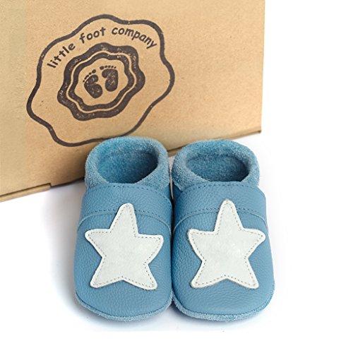 little foot company®, handgemachte Markenqualität aus Deutschland, weiches Komfortleder, Krabbelschuhe, Babypuschen in hellblau