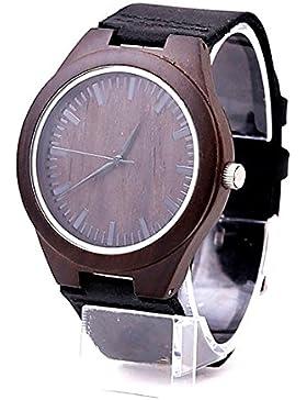 Mercimall BAB-B04 Unisex Natural Black Holz-Uhr-Leder-Uhr-einzigartige Texturen