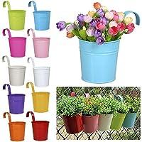 Colleer Hanging Flower Pot 10 PCS, Garden Pots Balcony Planters Multicolor Metal Bucket Flower Holders
