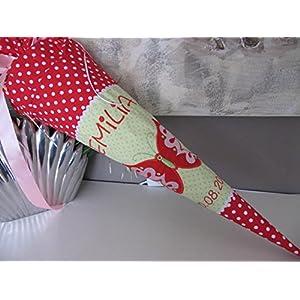 #23 Schmetterling rot-lindgrün Schultüte Stoff + Papprohling + als Kissen verwendbar