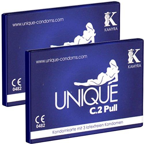 2 x KAMYRA Unique «C.2» PULL Condom Card, blau (Doppelpack!)