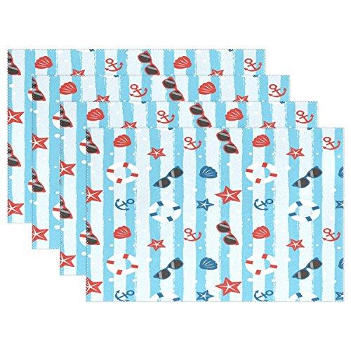 Use7 Platzdeckchen mit Seestern und Punkten, aus Polyester, 30,5 x 45,7 cm, 6 Stück (Polka Tischläufer Dot)
