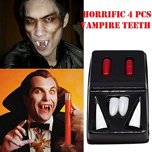 (Halloween Simulation Vampir Zahnersatz Scary 4 Stück Zähne Party Prothese Requisiten Vampire Zombies, sexy gruselig vampir zombie skelett große größen mädchen schminke herren maske (White))