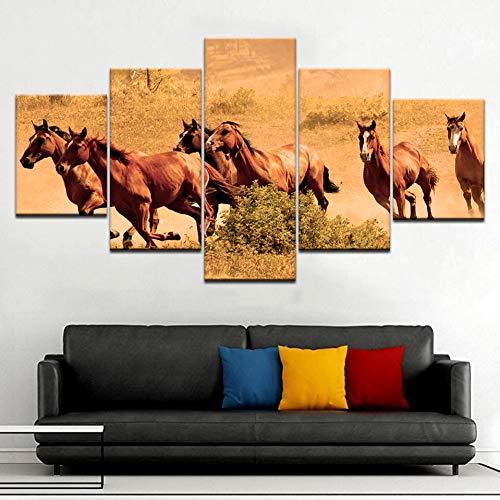 RMRM 5 Panel/Piece HD Print Alte Kriegspferde der Evangelisation Tier Moderne Wand Poster Leinwand Kunst Malerei Wohnzimmer Holzrahmen 30x40cm 30x60cm30x80cm