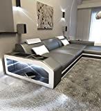 Sofa Dreams Ledersofa Prato L Form Grau-Weiss