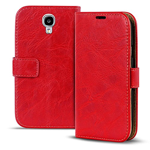 S4 Cover Flip Samsung Rot (Samsung Galaxy S4 mini Vintage Tasche Bookstyle Rot, PU LEDER Hülle Rot, Handyhülle Galaxy S4 mini Flip Case Wallet, Booklet Cover Brieftasche Etui Schutzhülle mit Kartenfächer, Samsung Galaxy S4 mini (4,3 Zoll (10,9 cm))