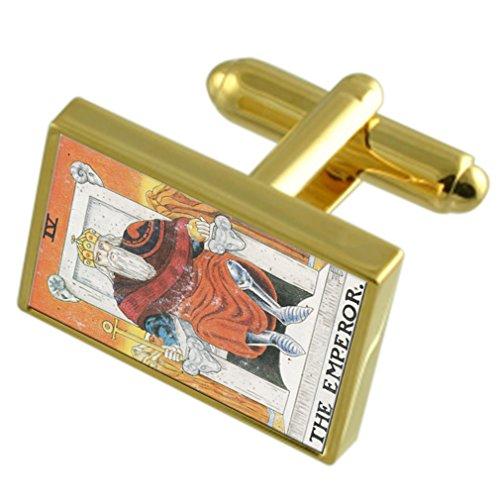 Tarot Emperador Tarjeta Gold-tono gemelos Cuadro de Mensaje grabado