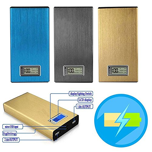 Cewaal 10400mAh 2 Port Alloy Power Bank 4x18650 batterie (PAS) Chargeur Box affichage numérique pour iPhone X Mp3 Tablet Blue