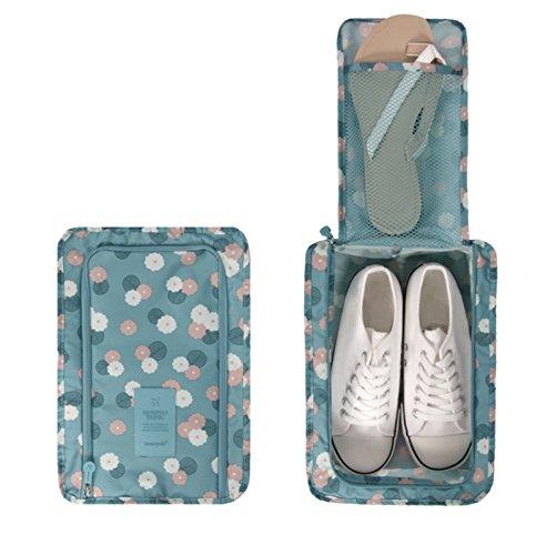 NOVAGO Bolsa Portátil de Zapatos / Organizador Viaje (Azul / Flores)