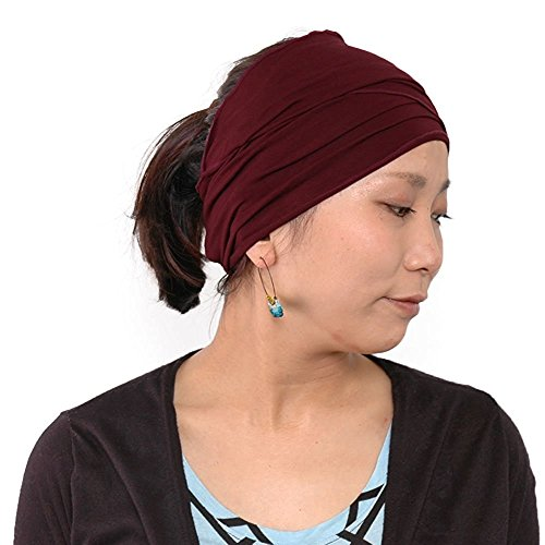 Casualbox Herren elastisch Bandana Stirnband Headband Japanisch lang Haar Dreads Kopf wickeln Kastanienbraun -