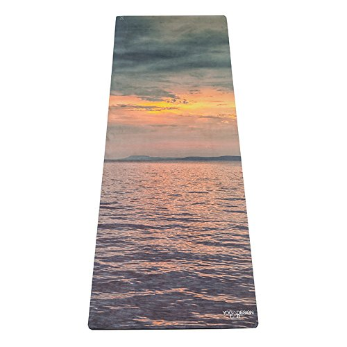 El viaje Yoga–Esterilla de yoga Design Lab | ligera, plegable, Eco lujo Mat/toalla | diseñado en Bali | ideal para yoga caliente, Bikram, pilates, Barre, sudor | 1mm de grosor | incluye correa de transporte., Sunset