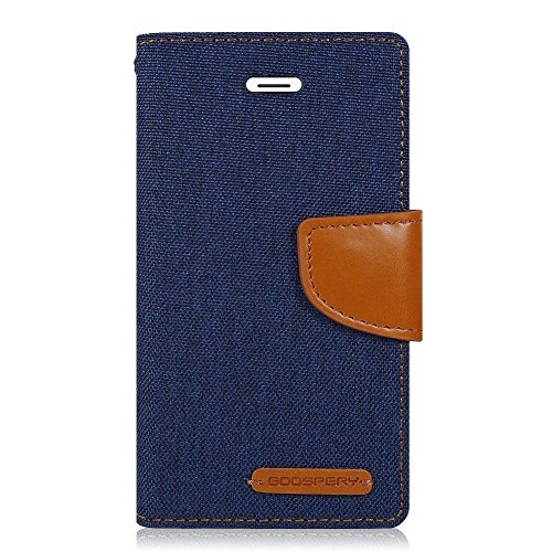 King Sales Covers For Vivo V3 Flip Cover Dairy Wallet Case (Canvas Series) (Blue)
