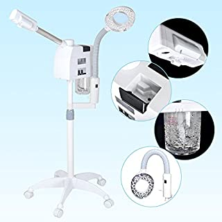 AceFox Professional 2in1 Ozone Aroma Facial Steamer + Table LED Magnifying Lamp for Beauty Salon Spa