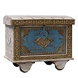Oriental Galerie Truhe Kiste Box Schatztruhe Indien Holz Massiv Shabby Chic Antik 70cm Blau Grau Nr.1