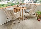 Beauty.Scouts 3-tlg. Balkonset Santos, Rattan natur Polyrattan inkl. Polster grau klappbarer brauner Tisch und 2 Stühle