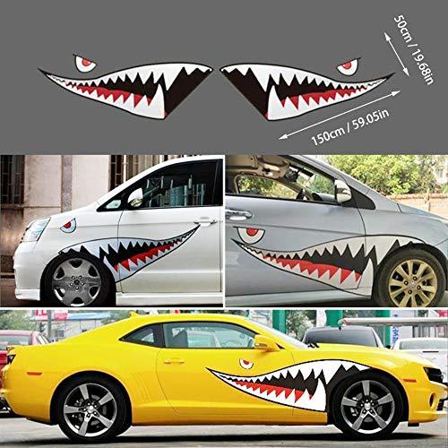 Ggaggaa 1 Paar Auto Aufkleber Hai Mund Zähne Aufkleber Persönlichkeit Ziehen Blume Kreative Körper Tür Seite Decor