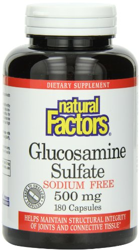 Natural Factors, Sulfate de Glucose, dépourvu de Sodium, 500 mg, 180 Capsules