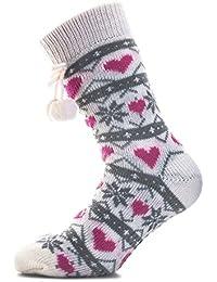Womens Brave Soul Heart Bed Socks In Ecru Pink Multi