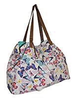 Large Ladies Canvas Oversized Beach Holiday Travel Overnight Gym Holdall Maternity Hand Bag & Purse Set (Butterflies)