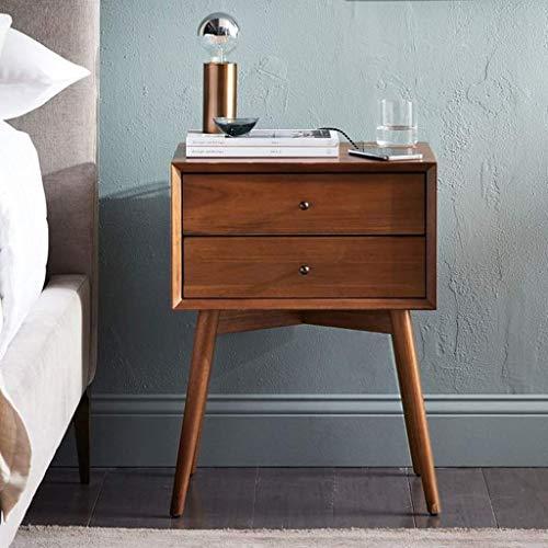 LXD Haushalt Nachttisch, Massivholz Nachttisch mit 2 Schubladen Nachttisch Beistelltisch Schlafzimmer Multifunktions-Nachttisch,Braun -