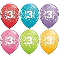 "Age 3/3rd Birthday Tropical Assorted Qualatex 11"" Latex Balloons x 5"