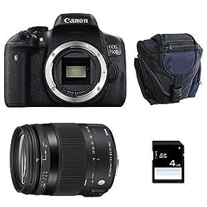 CANON EOS 750D + SIGMA 18-200 OS HSM Contemporary + Sac + SD 4Go