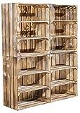 4er Set hohe Regalkiste mit 2 Böden *geflammt* - flambierte Holzkiste / Obstkiste mit 3 Fächern als Schuhregal oder Bücherregal - Kistenregal Schuhkiste flammbiert - rustikal 61x50x31cm