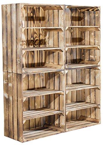 4er Set hohe Regalkiste mit 2 Böden *geflammt* - flambierte Holzkiste / Obstkiste mit 3 Fächern...