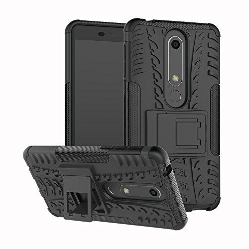 Sunrive Hülle Für Nokia 6 2018/Nokia 6.1, Schutzhülle Etui Case Cover Hybride Silikon Stoßfest Handyhülle Zwei-Schichte Armor Design Tasche mit schlagfesten mit Ständer Slim Fall(schwarz)