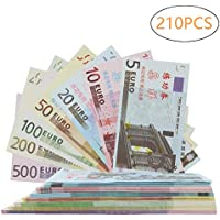 Color You 210Pcs EUR Prop Money Play Money Juego Realista Papel Moneda Impresión Completa 2 Caras, Juego de 1, 2, 5, 10, 20, 50, 100 €