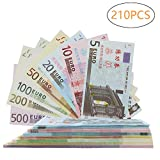 Color You 210Pcs EUR Prop Money Play Money Game Realistic Paper Money Full Print 2 Sided, Set of 1, 2, 5, 10, 20, 50, 100 €, Students, Movie, Pranks, Birthday Party, Play Board Games, Photography