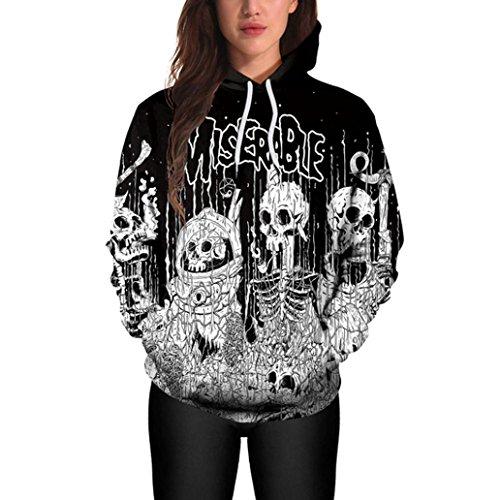 Amlaiworld Halloween Terror locker Sweatshirt damen mit aufdruck Hexe Skelett Kapuzenpullover warm Herbst Winter pulli halloween weich kostüm (XL, Schwarz)