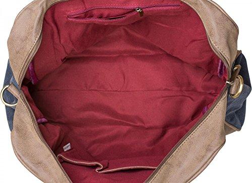 styleBREAKER Canvas Shopper Tasche mit aufgenähtem Stern, Kunstleder Applikationen, Schultertasche, Umhängetasche, Damen 02012083, Farbe:Blau Blau