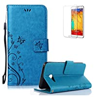 J5 Case,Samsung Galaxy J5 Case.Funyye Elegant Premium Folio PU Leather Wallet Magnetic Flip Cover with [Wrist Strap] and [Credit Card Holder Slots] Stand Function Book Type Stylish Butterfly Leaf Vines Designs Full Protection Holster Case Cover Skin Shell for Samsung Galaxy J5 (2017 Model)-Blue