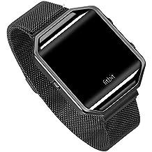 Fitbit Blaze Banda de Reloj, FOTOWELT Milanese Loop Negro de Acero Inoxidable Smart Watch Correa de Pulsera para Fitbit Blaze Smart Watch con Bloqueo de Imán único, Sin Hebilla Necesaria - Negro