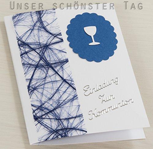 10 x Einladung Einladungskarte Kommunion Einladungen blau KK018