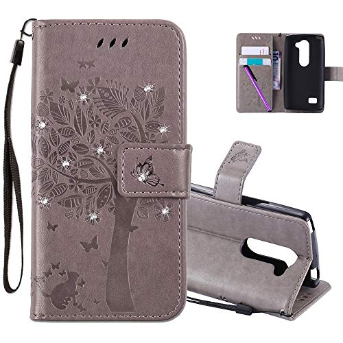 COTDINFOR LG Leon H340N C40 Hülle für Mädchen Elegant Retro Premium PU Lederhülle Handy Tasche mit Magnet Standfunktion Schutz Etui für LG Leon 4G LTE H340N C40 C50 Gray Wishing Tree with Diamond KT.