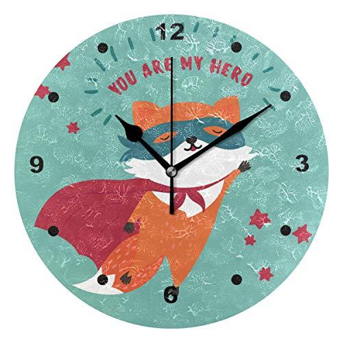 r, mit Öl Bedruckt, 1 Fuchs in Superhelden-Maske und Umhang, Wanduhren für Wohnzimmer, Schlafzimmer und Küche, Vintage-Stil ()