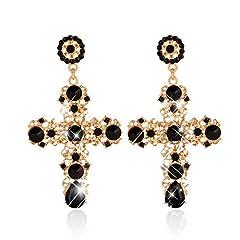 Idea Regalo - Jagetrade, eleganti orecchini a croce boho da donna con strass e pendenti, regalo per fidanzata o mamma Nero