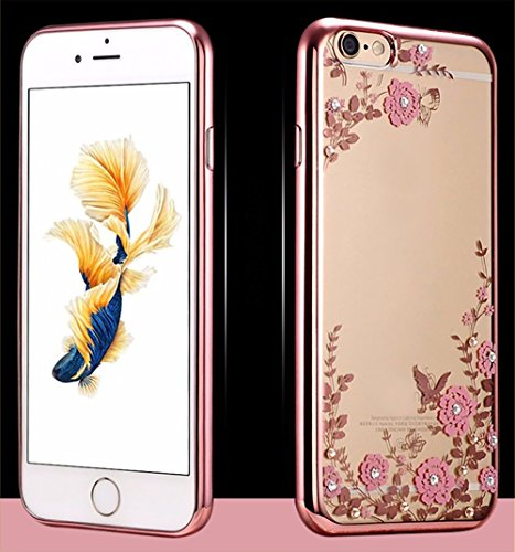 iPhone 6Plus Coque TPU electroplating + Paillettes Fleurs aspect cristal pare-chocs 2016, Rose Gold(Green Flowers), 158.1x77.8x7.1mm Rose Gold(Pink Flowers)