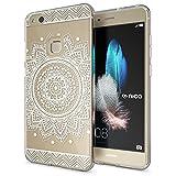 NALIA Handyhülle für Huawei P10 Lite, Slim Silikon Motiv Case Cover Crystal Schutz-Hülle Dünn Durchsichtig, Etui Handy-Tasche Backcover Transparent Bumper für P10Lite, Designs:Circle Flowers