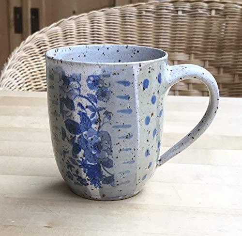 Kaffeebecher-Volumen 250ml- grün/grau/blau mit Rosen-getöpfert