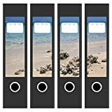 4 x Akten-Ordner Etiketten / Steine am Meer Indischer Ozean / Design Aufkleber / Rücken Sticker / für breite Ordner / selbstklebend / 6cm breit