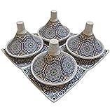 Saharashop 4er-Set Orientalische Serviertajine Ø 13 cm Mosaik