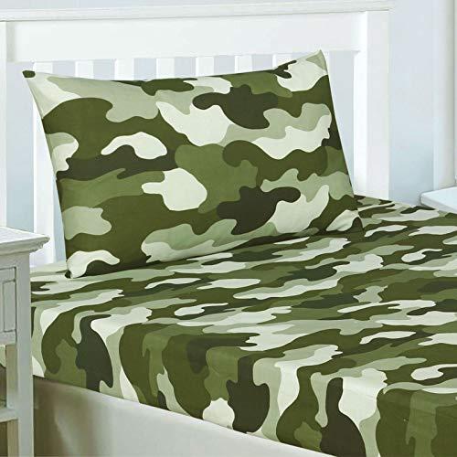 Rapport Army Camouflage - Set di Lenzuola e federe per Letto Singolo