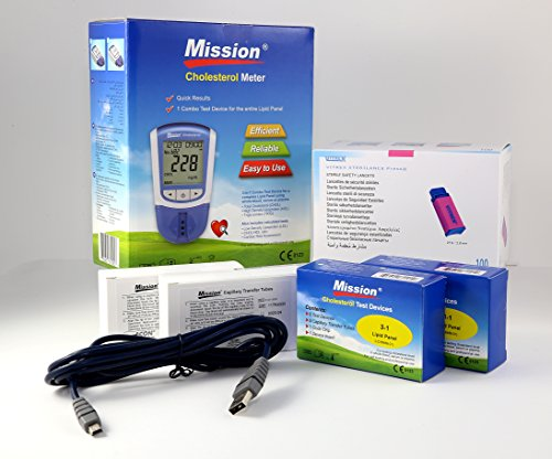 Cholesterin Messgerät 4in1 + 10 Cholesterin Streifen + 100 Mission Capillary Transfer Tubes + 100 Sterile Lancets + Mission Kabel